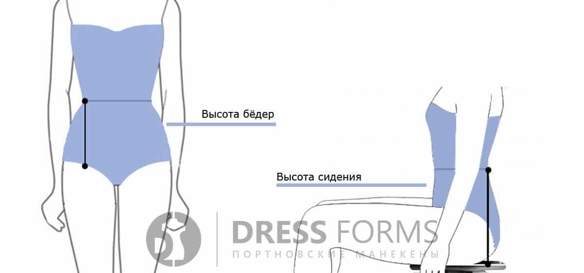 Мерки высоты сидения и бёдер